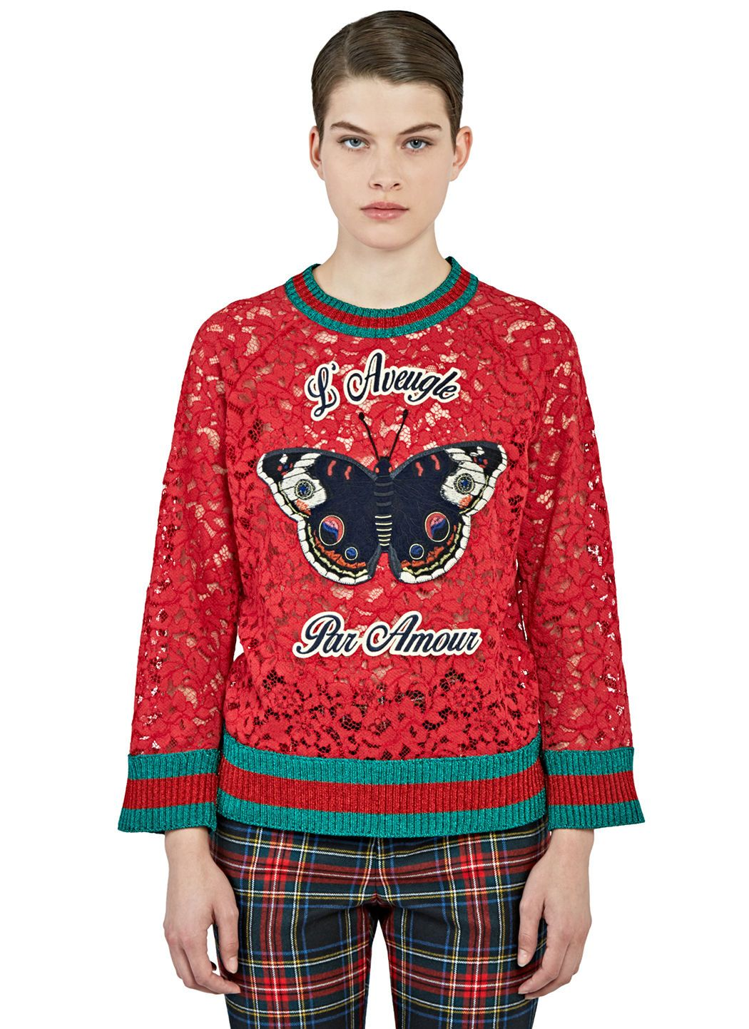 GUCCI Women'S Butterfly Patch Floral Lace Sweater In Red. #gucci ...