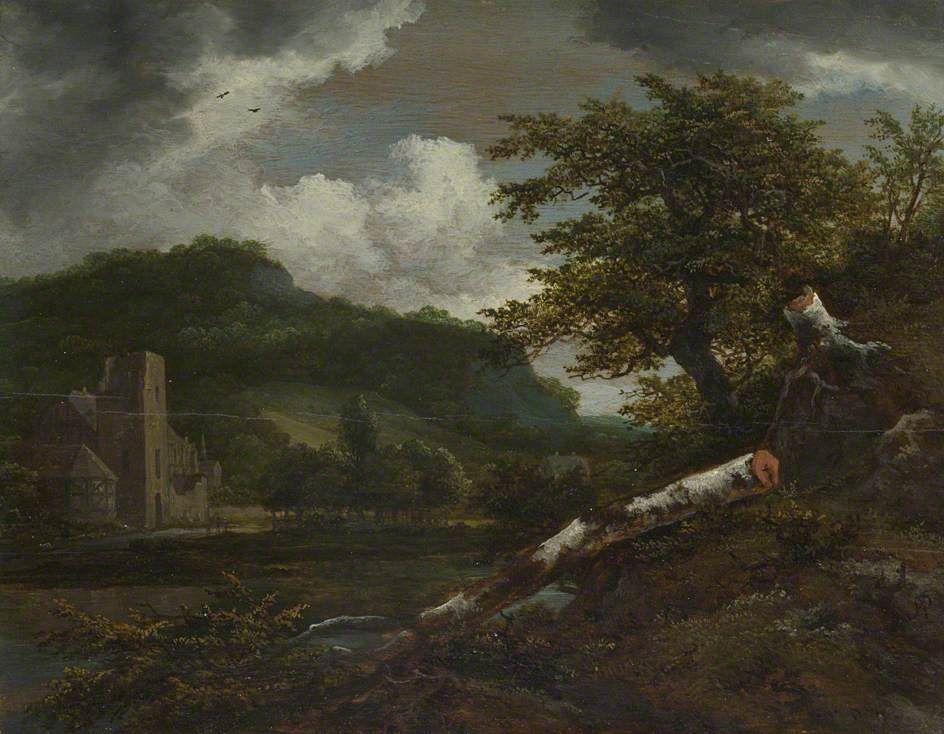 Jacob van Ruisdael - Landschap met een vervallen gebouw aan de voet van een heuvel bij een rivier