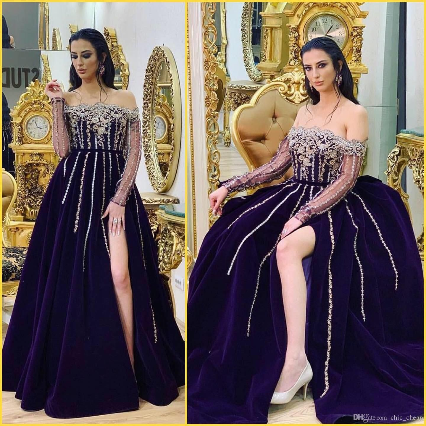 Aso Ebi 2019 Arabic Lace Beaded Evening Dresses Long Sleeves High Split Prom Dresses Velvet Formal Party Bridesmaid Pageant Gowns Zj522 From Chic Cheap 101 71 Best Prom Dress Websites Long Sleeve Evening [ 1440 x 1440 Pixel ]
