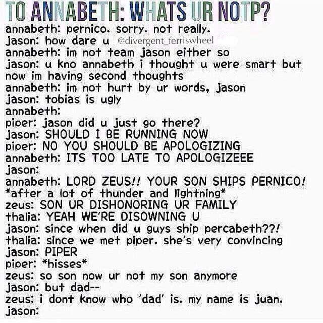 Wohoo you go Annabeth, Piper, Thalia and Zeus!!!!! Die