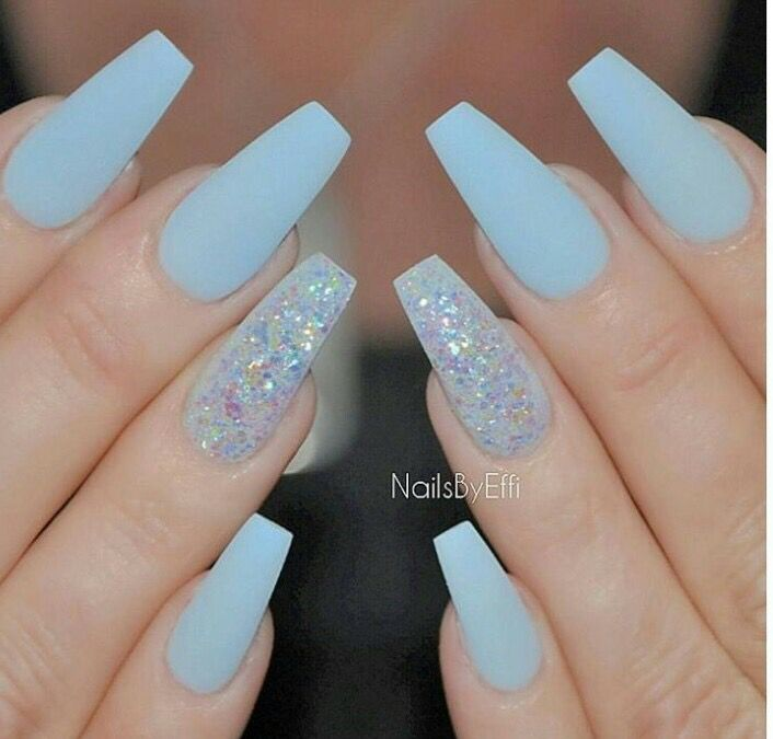 Pin By Hair Junkieee On Nails Blue Acrylic Nails Blue Coffin
