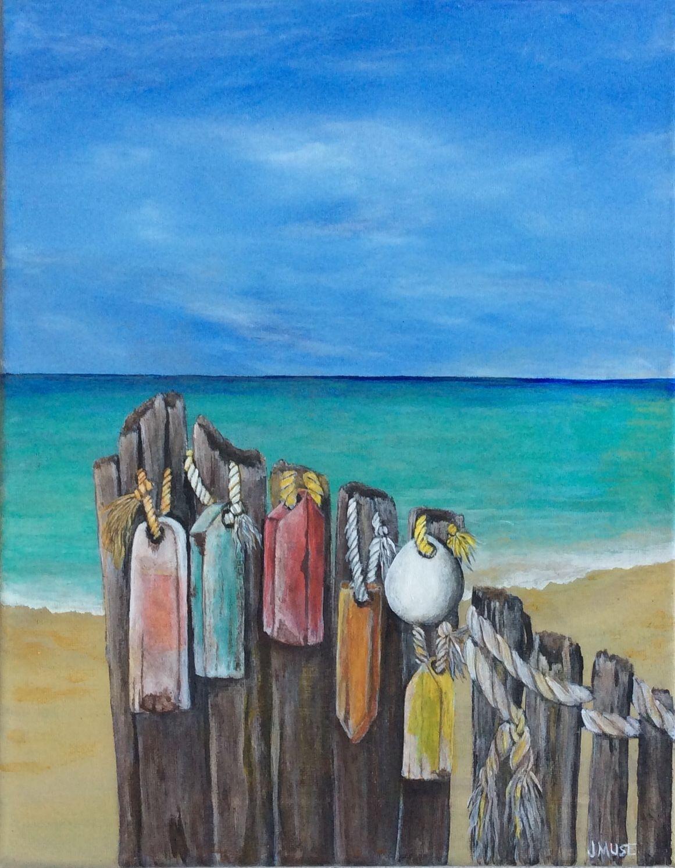 cf400126c7a97 OLD BUOYS......original acrylic art...sea...beach...ocean..vintage........  nautical ..Tropical… coastal...Old wood… Rope