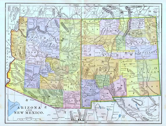 Map Of Arizona Detailed.Arizona New Mexico Map 1897 Antique Us State Map Detailed Cities