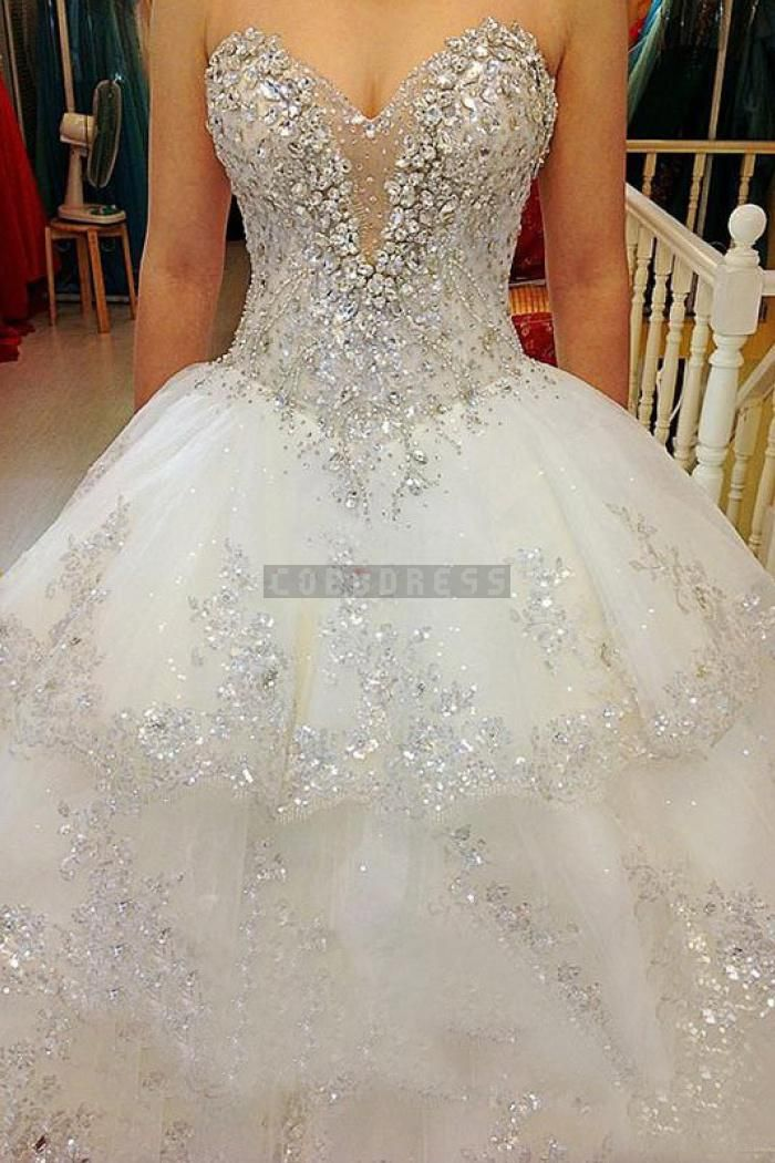 Luxurious Beading Ball Gown Layers Wedding Dress Expensive