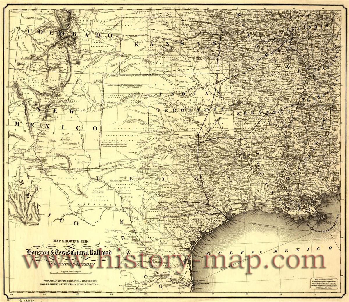 Houston & Texas Central Railroad   MAPS   Vintage, Old maps, Antique on