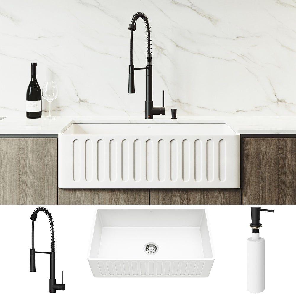 Vigo 33 Inch Matte Stone Kitchen Sink Set With Laurelton Faucet