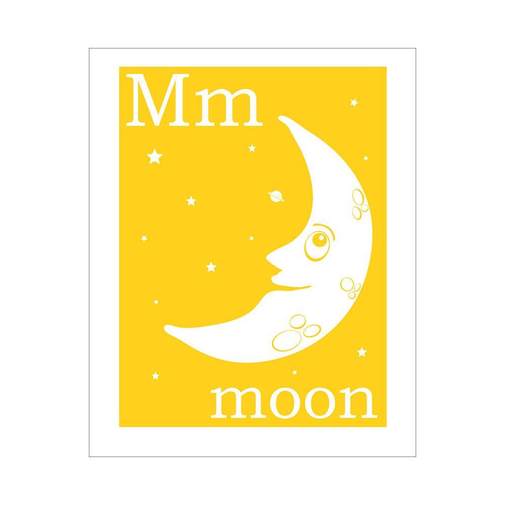 Children\'s Wall Art / Nursery Decor M is for Moon - FinnyAndZook ...