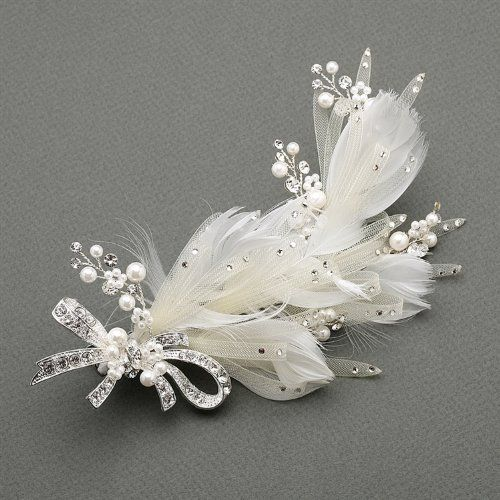 Amazon.com: Ivory Wedding Hair Clip with Ivory Horsehair Ribbons, Crystals & Pearls: Jewelry
