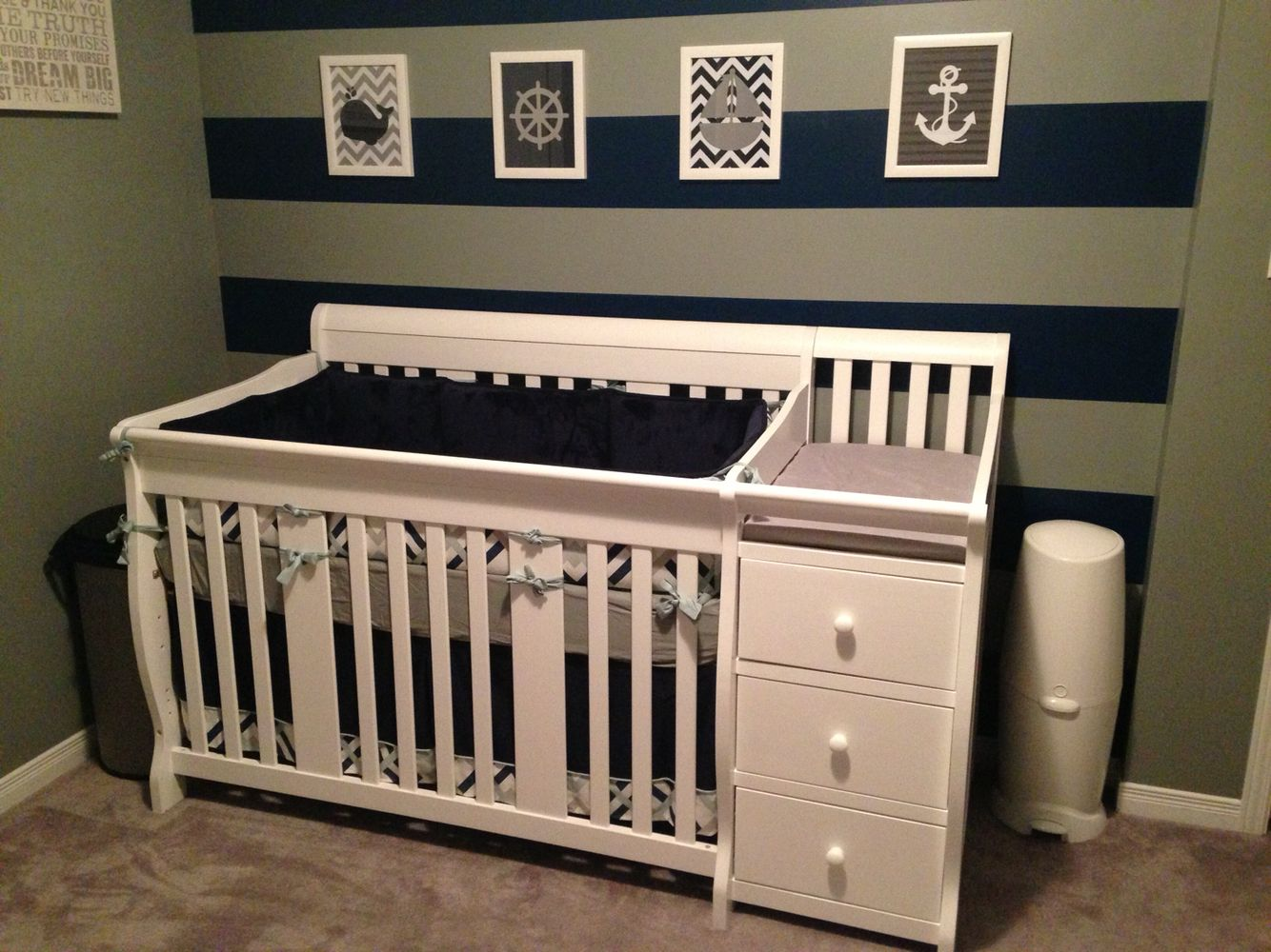 Nautical Boys Nursery Navy Blue And Grey Striped Wall