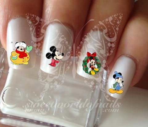 Winter Christmas Nail Art Mickey Mouse Nail Water Decals Transfers
