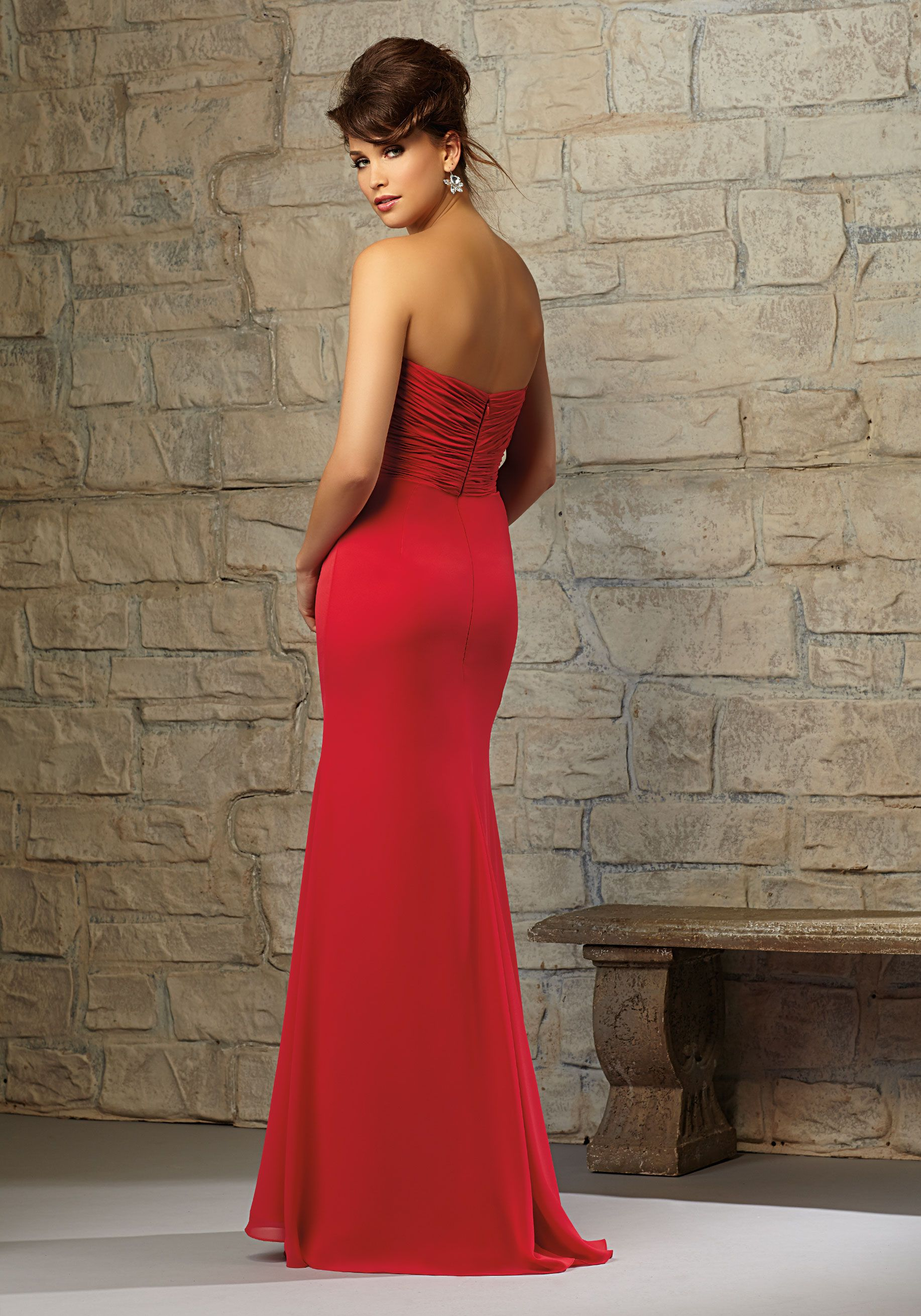 Elegant chiffon bridesmaid dress with matching tie designed by