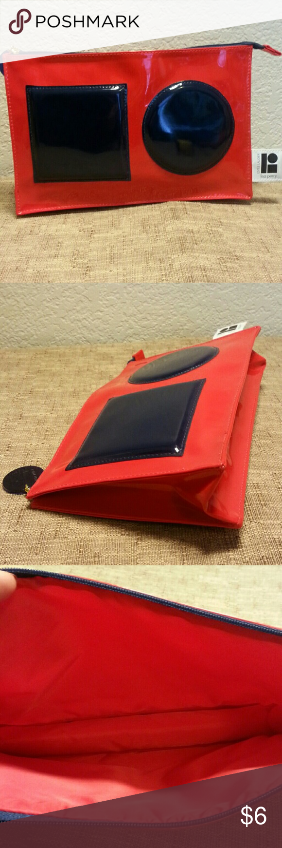 Estee Lauder make-up bag Red and navy. No pockets. Excellent condition. 10.5x7 Estee Lauder Bags Cosmetic Bags & Cases