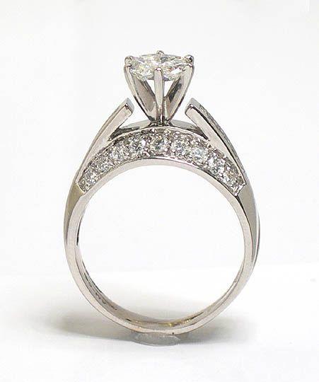 unique solitaire diamond rings | UNIQUE 14k WG & DIAMONDS SOLITAIRE ENGAGEMENT RING