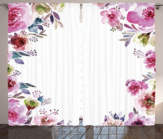Floral Curtains By Ambesonne Flower Background With Florets Blooms Bouquet Romance Bridal Watercolor Art Living Room Bedroom Window D Floral Curtains Flower Backgrounds Window Drapes