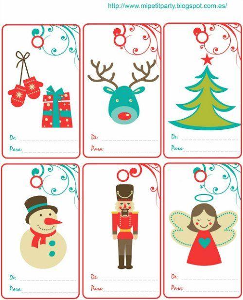 etiquetas de regalos para imprimir tarjetas navidad