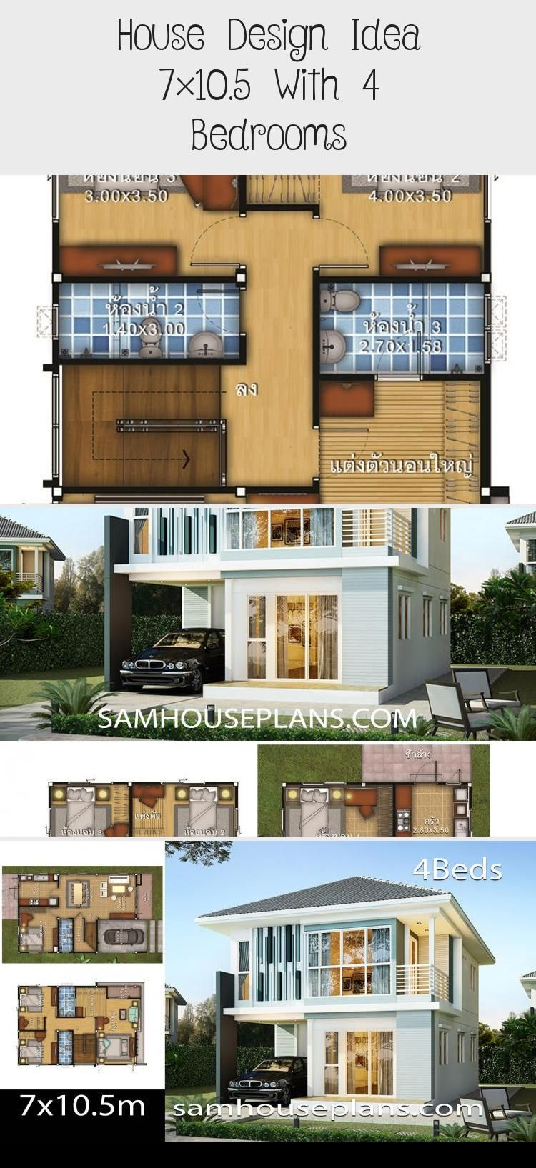 House Design Idea 7 10 5 With 4 Bedrooms In 2020 Unique Small House Plans Small House Plans Country House Plans