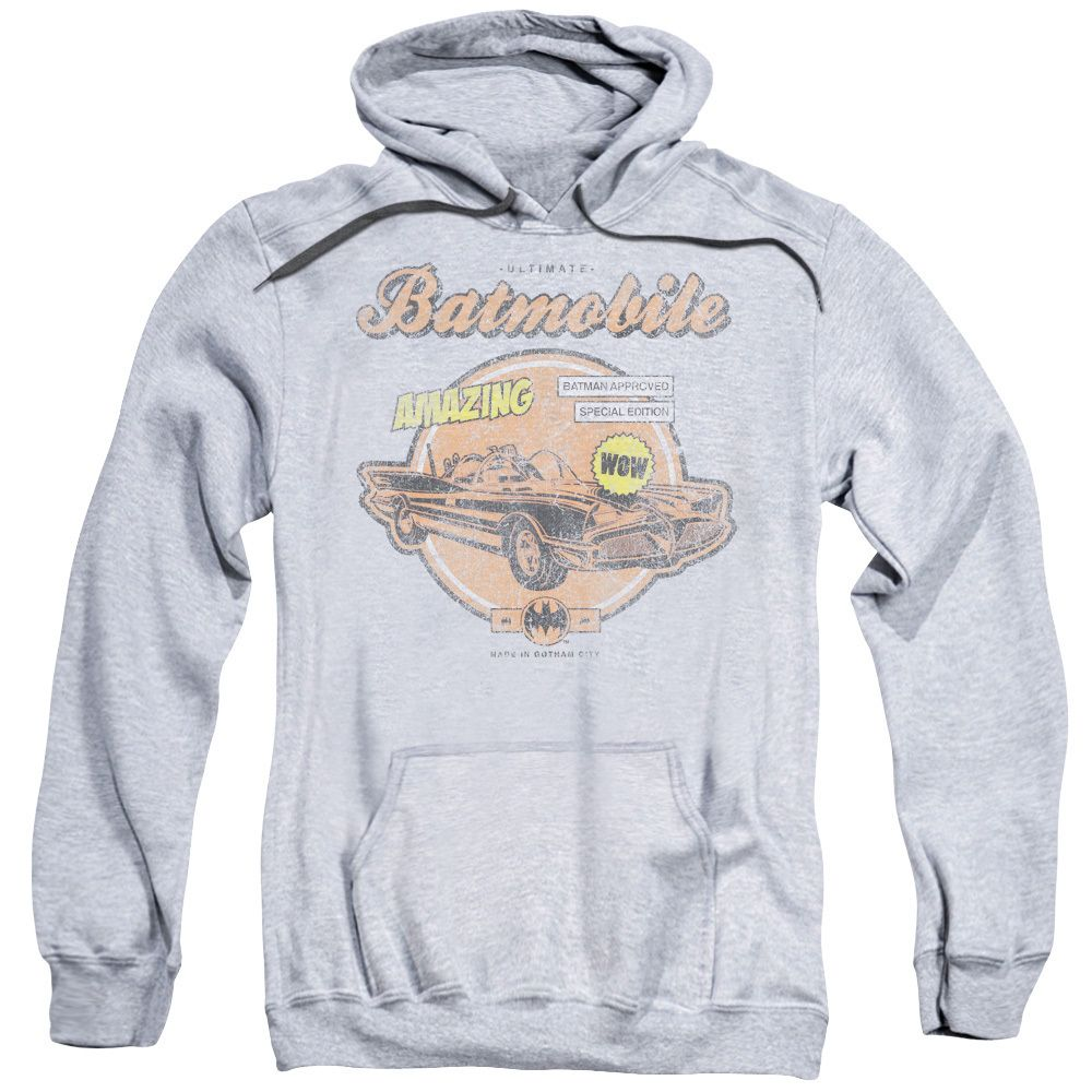 Batman Adult's Amazing Batmobile Athletic Heather Cotton/ Pullover Hoodie, Men's