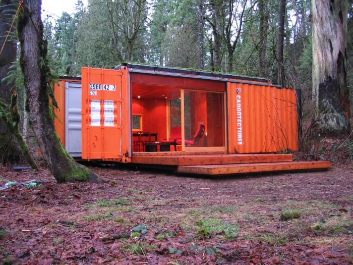 """Little Cargo Container in the Big Woods This Cargotecture cabin is used as a guesthouse on a rural property near Seattle. Says HyBrid Architecture's principal and co-founder Joel Egan, """"These containers are fun, emotional, curious, and durable."""""""