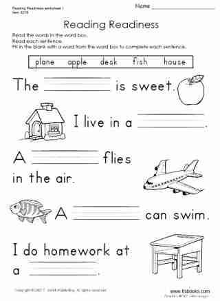 Reading Readiness Worksheet 1 First Grade Worksheets English Worksheets For Kids Phonics Worksheets