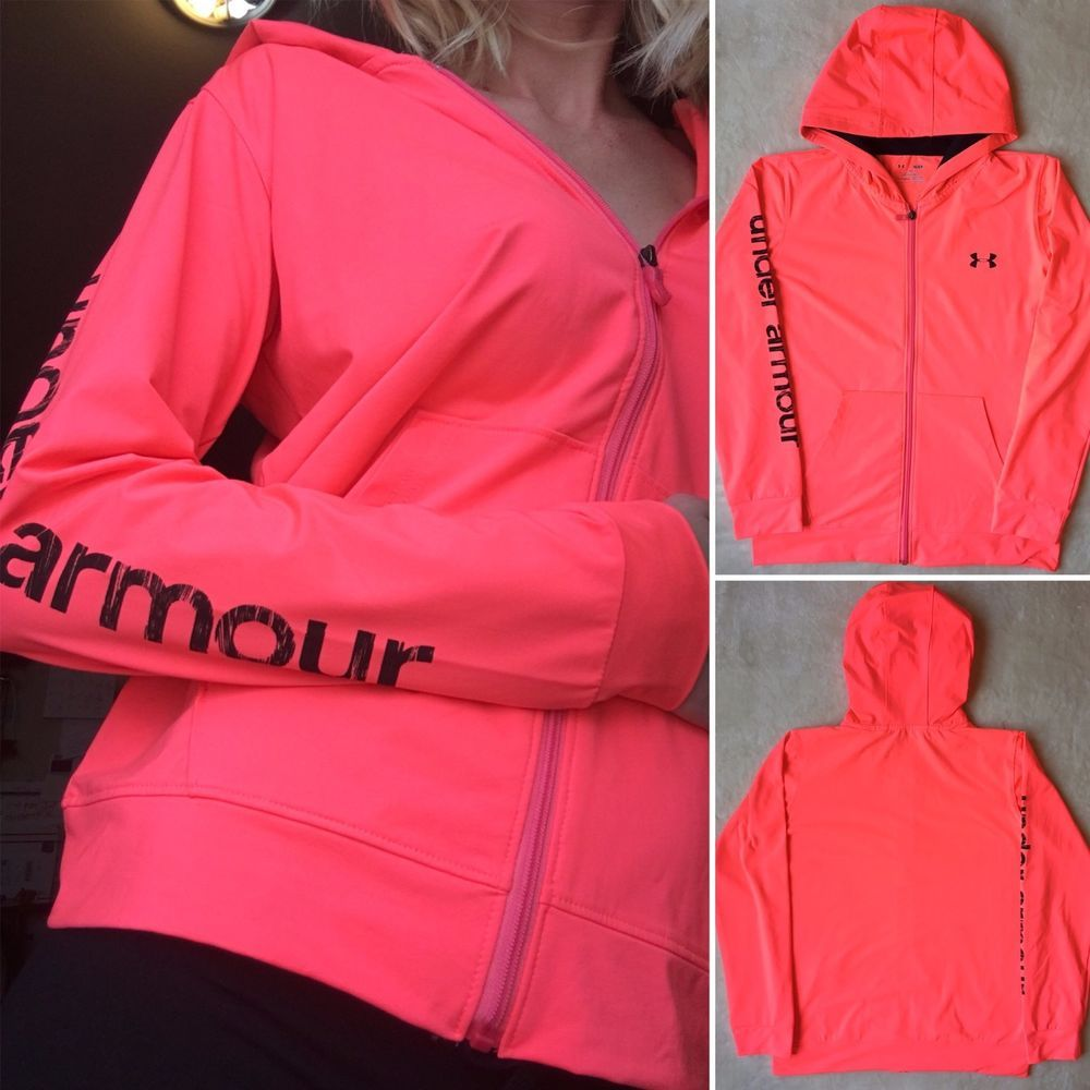 3c2fadf168c3 Womens UNDER ARMOUR Heat Gear Tech Full Zip Yoga Workout Hoodie Jacket Neon  Pink…