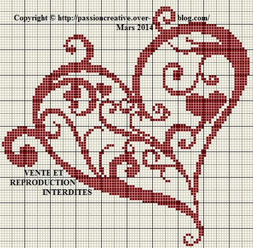 Grille gratuite point de croix : Coeur arabesque rouge 1 | Cross stitch heart, Cross stitch ...