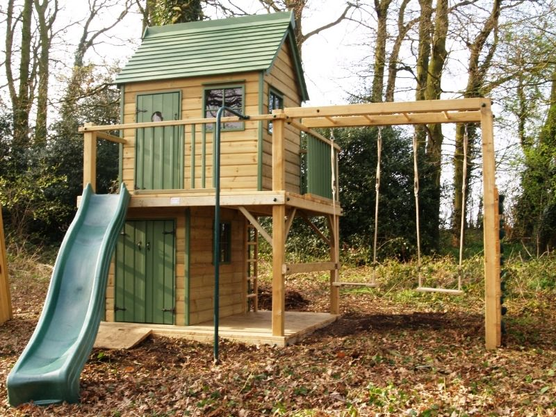 Playways forest mega playhouse climbing frame 2 for Childrens playhouse with slide and swing