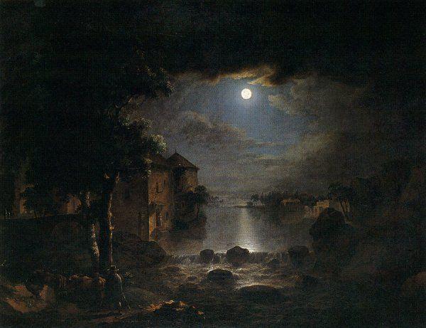 Karel Postl 1769 1818 Night Moonlight Painting Oil Painting Nature Landscape Paintings