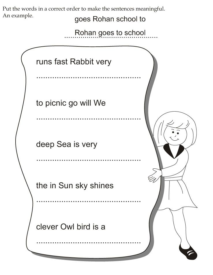 Put the words in a correct order to make the sentences meaningful – Correcting Sentences Worksheets
