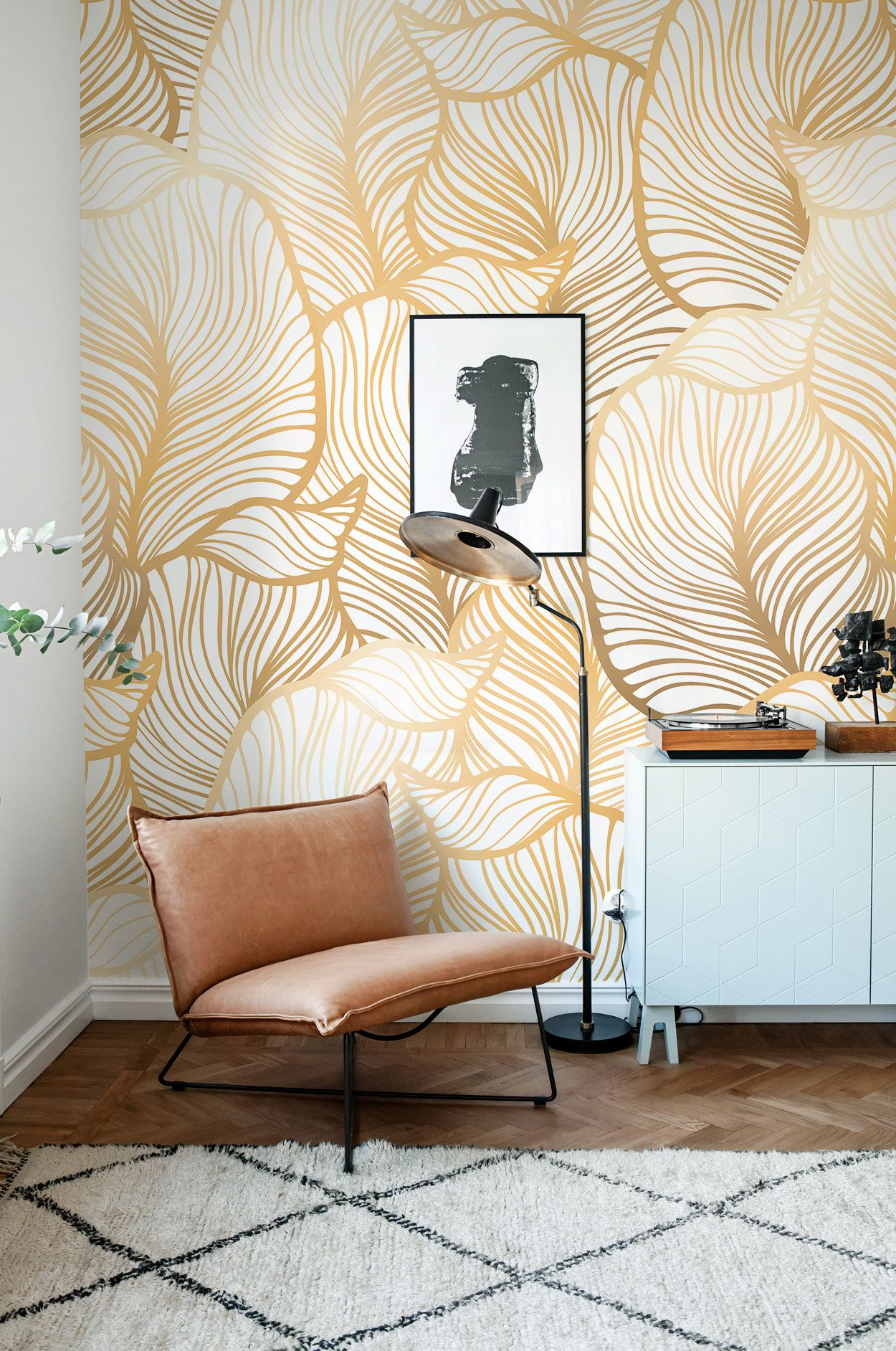 Solid Gold Leaf Wallpaper, Exotic Leaves Wallpaper, Large Leaf Wall