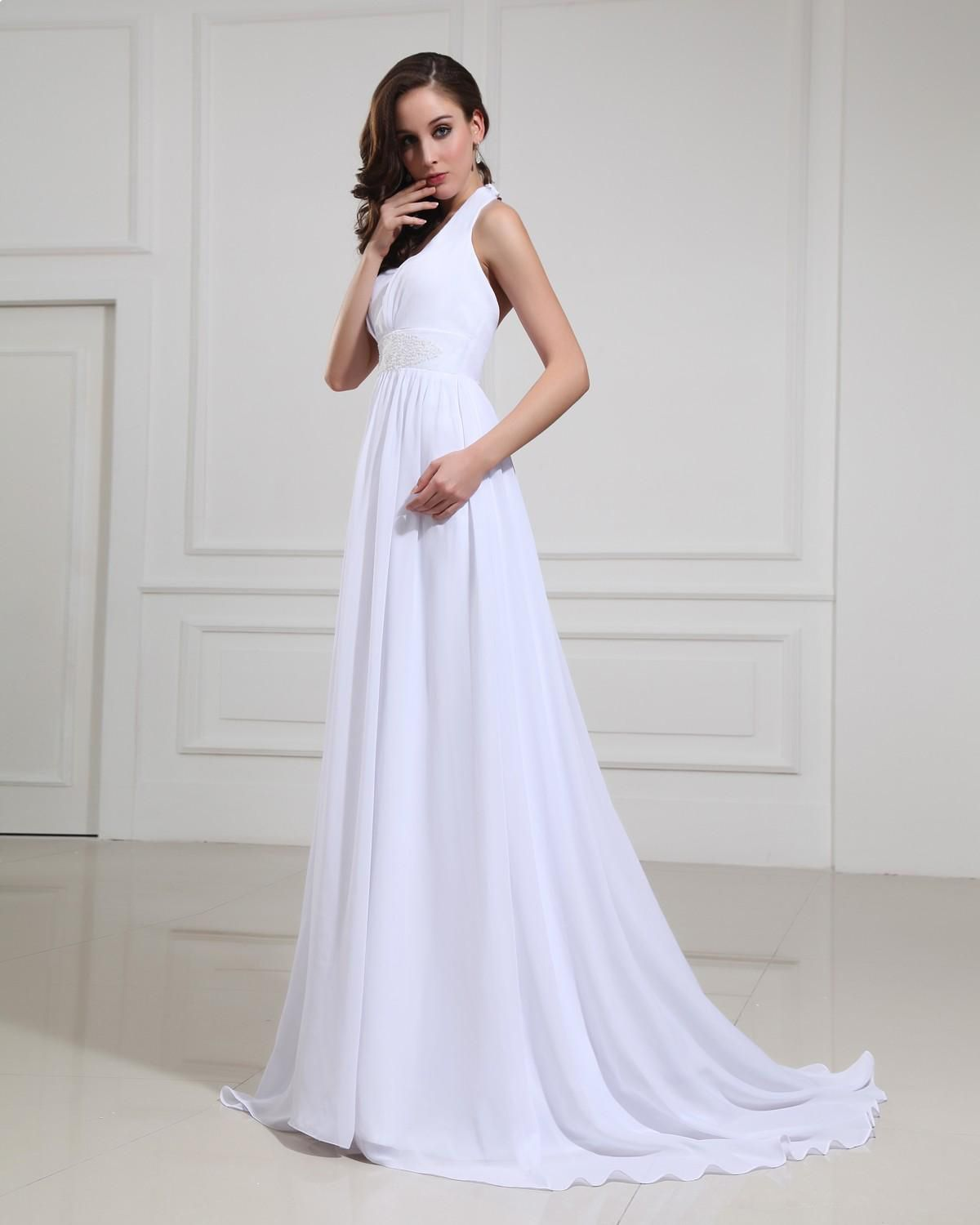Chiffon halter vneck empire bridal gown wedding dressstyle no
