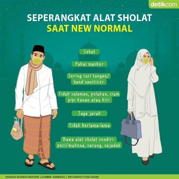 Seperangkat Alat Sholat Di Masjid Saat New Normal Infografis Desain Logo Pelukan