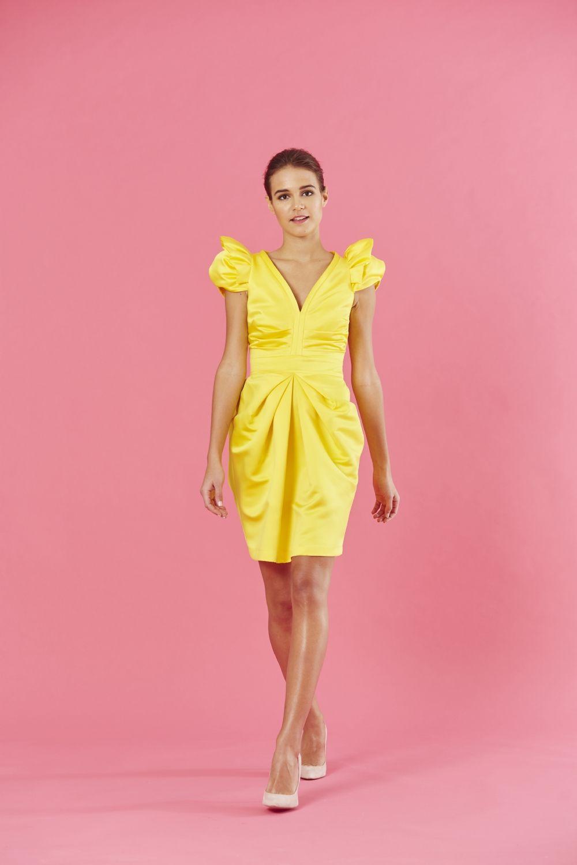 Atractivo Vestido De Novia De Color Amarillo Colección de Imágenes ...