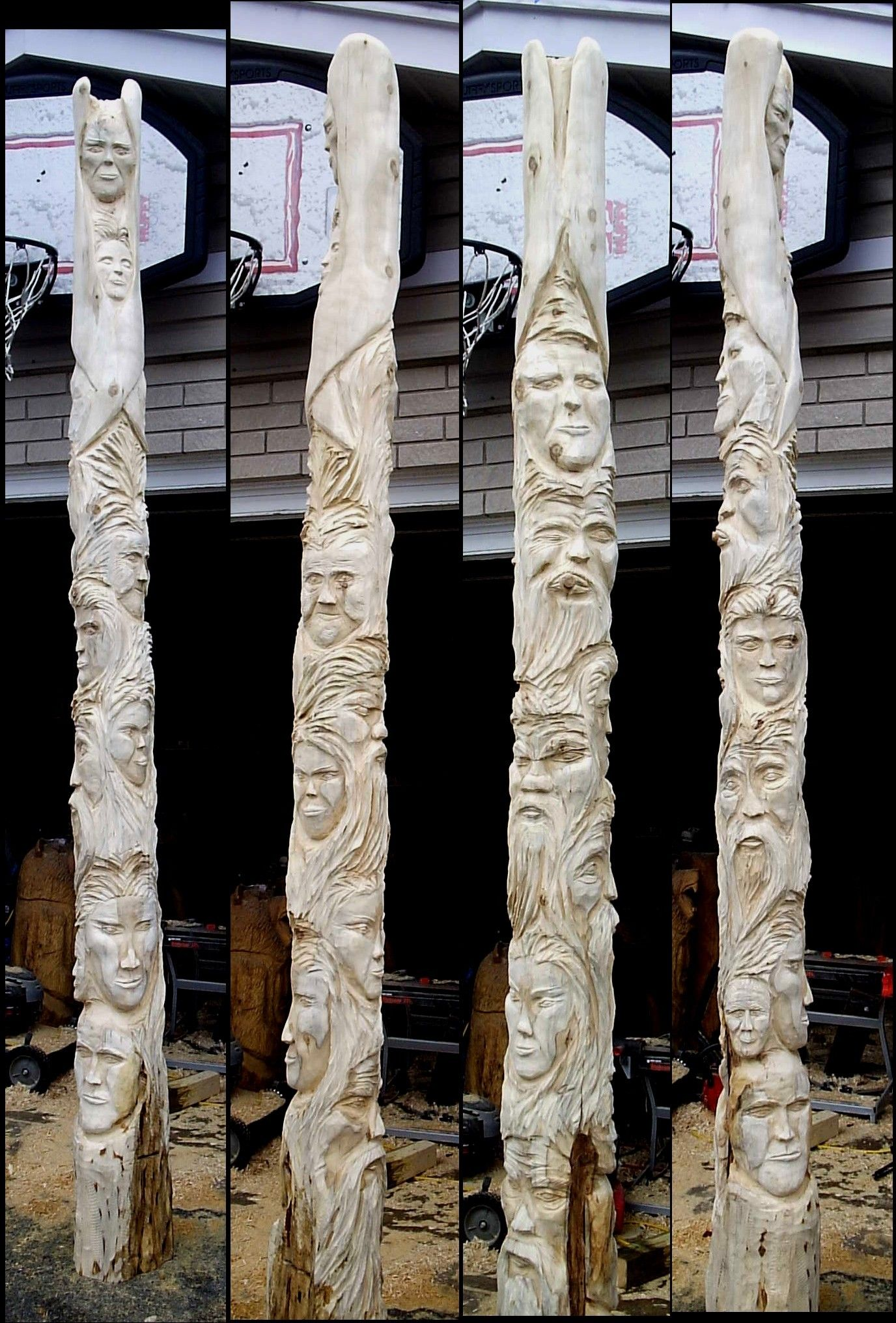totems tell a story, these have been carved but not yet