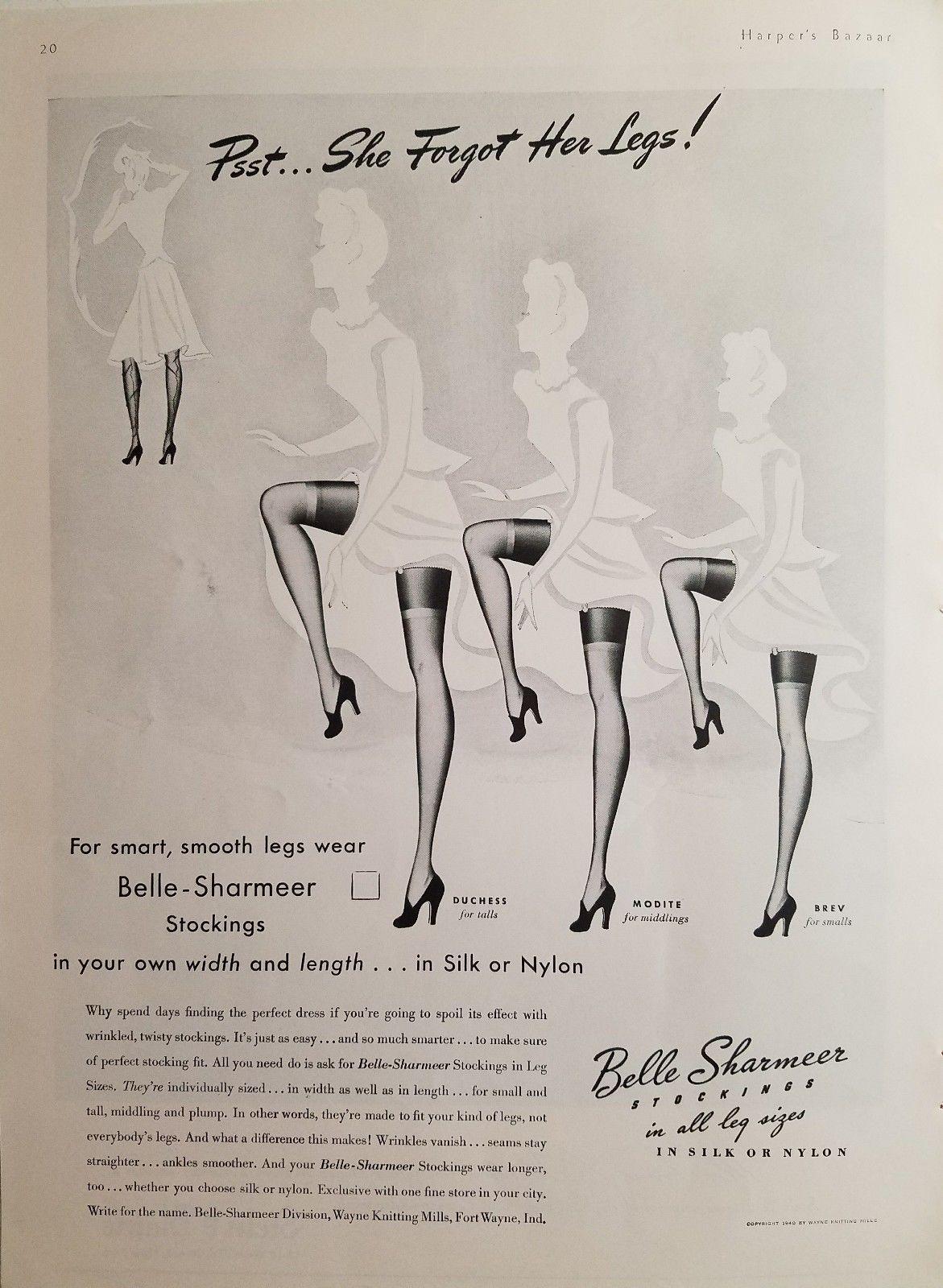 NOS 1940s 50s seamed nylon stockings rare Sz11 LRG by Belle Sharmeer