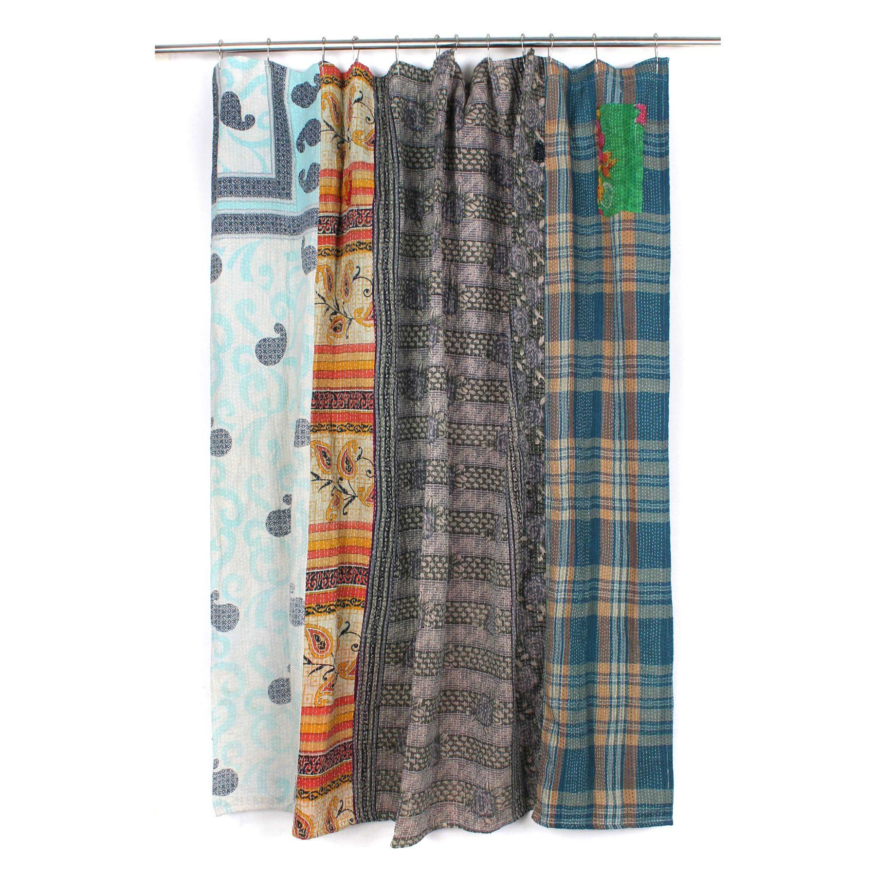 Melange home kantha bellary fabric shower curtain sc products