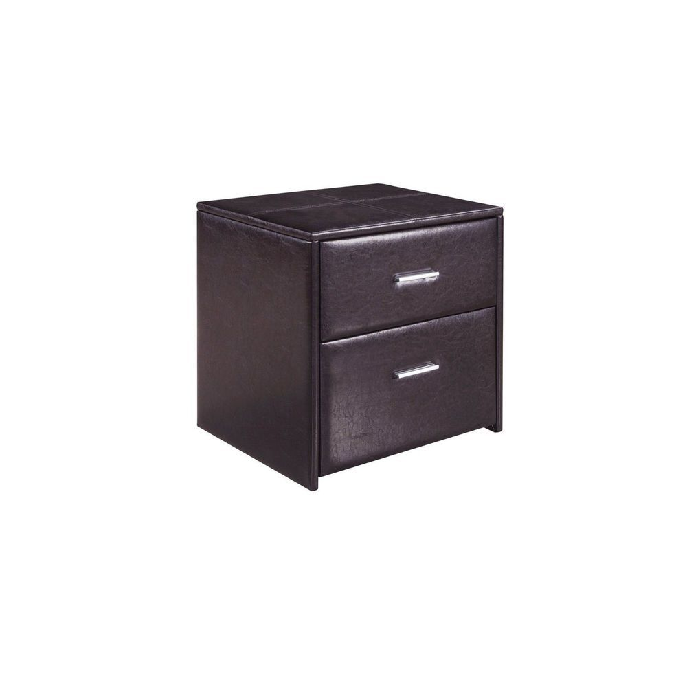 Kirby Wooden Upholstered Frame Bedroom Nightstand Side Table w/ 2 ...