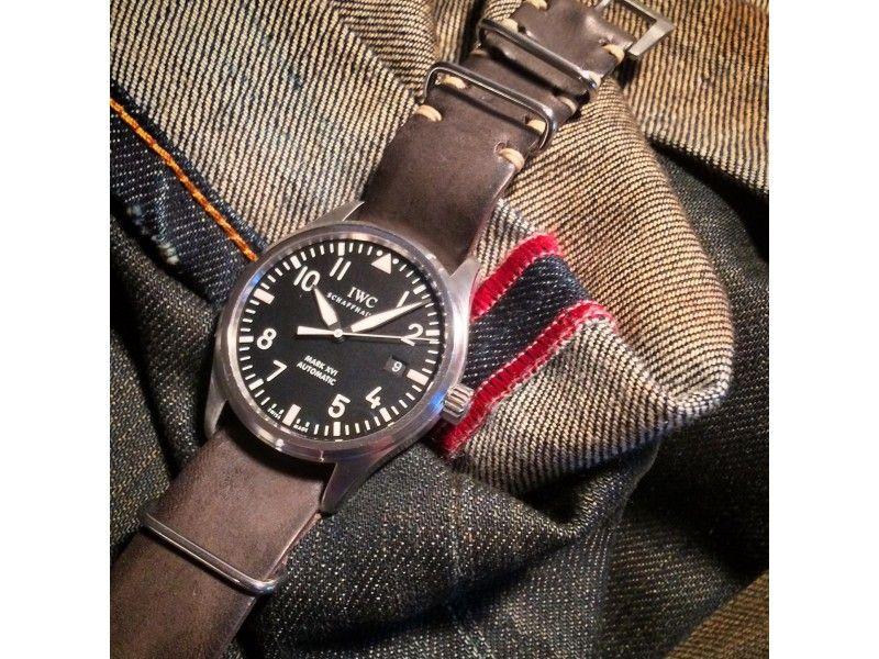 Cinturino Vintage Classic NATO Cuoio Piombo Fuso 20 mm