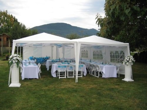 & Palm Springs 10u0027 x 30u0027 White Party Tent with 8 Sidewalls