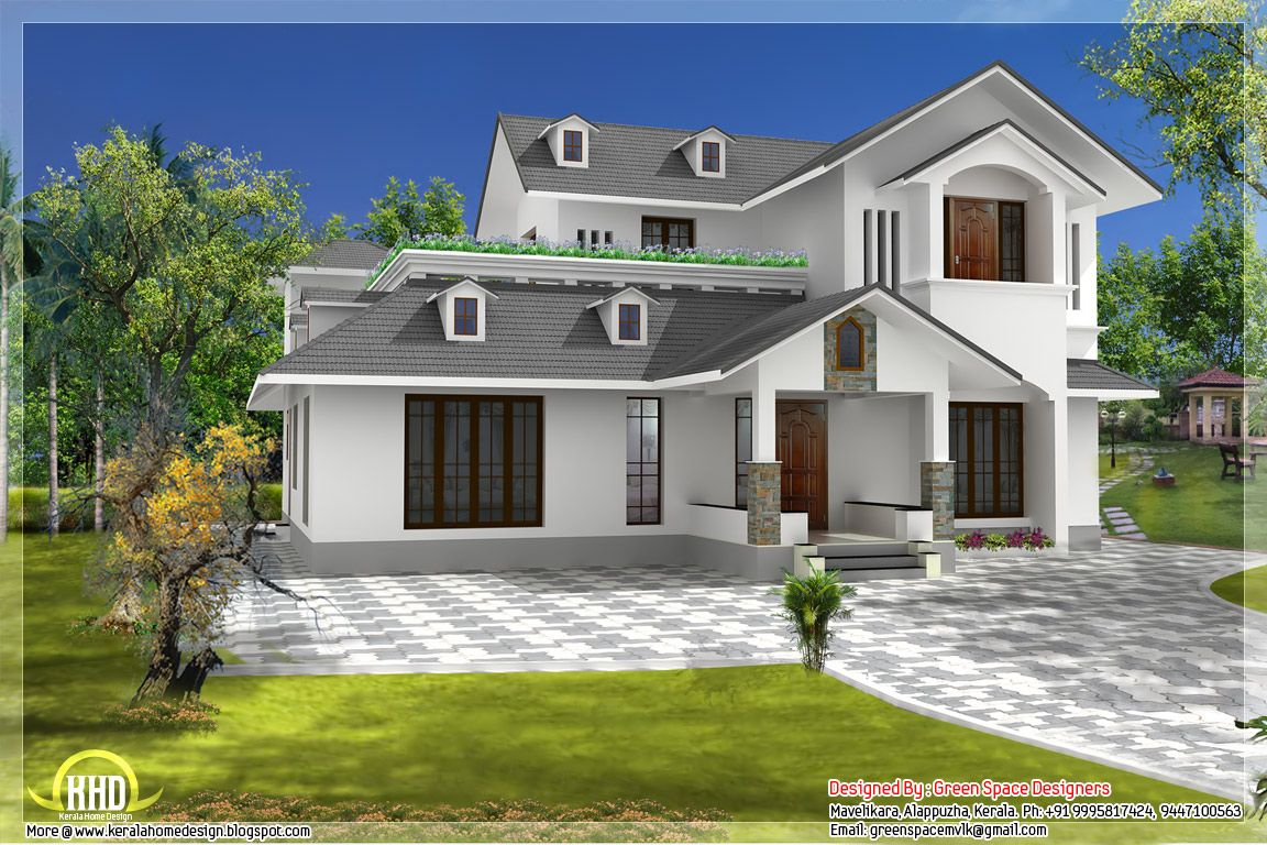 Sloping roof home with vastu shastra norms home for Window design elevation