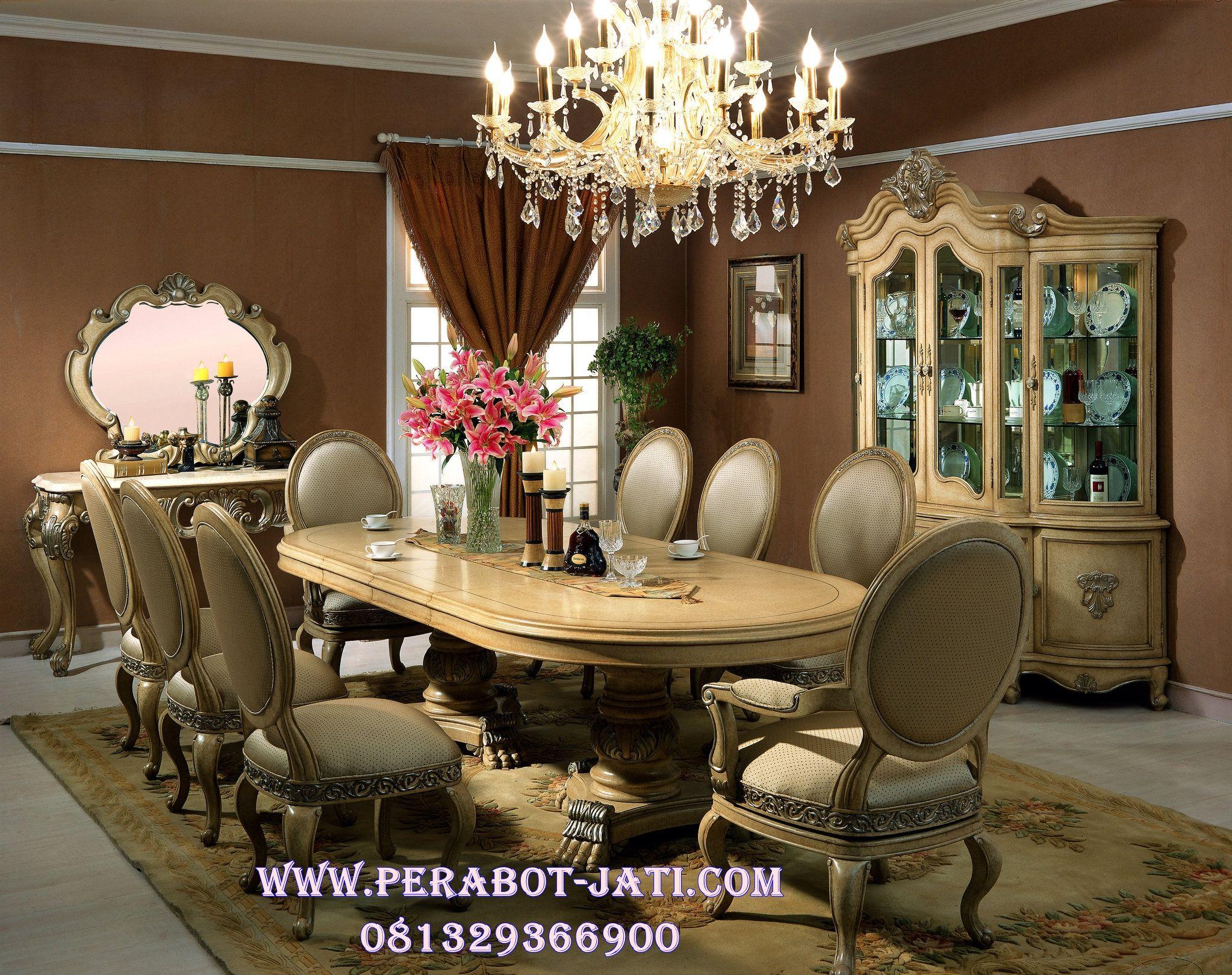 Meja Makan Oval 8 Kursi Elegan Livina Jual Set Kursi Makan Meja