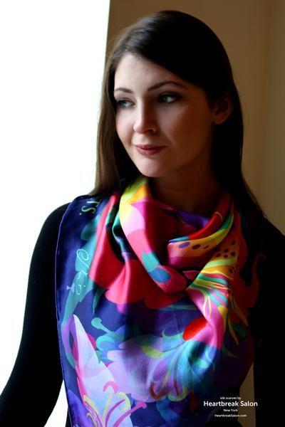 """No regrets"" - Silk scarf, 100% silk classic carré 90cm (36"" square) #silkscarf #silkscarves #designersilkscarves #designerscarf #tigerlily #tigerlilies #tigerlilyscarf #tigerlilyfabric #tigerlilydress"