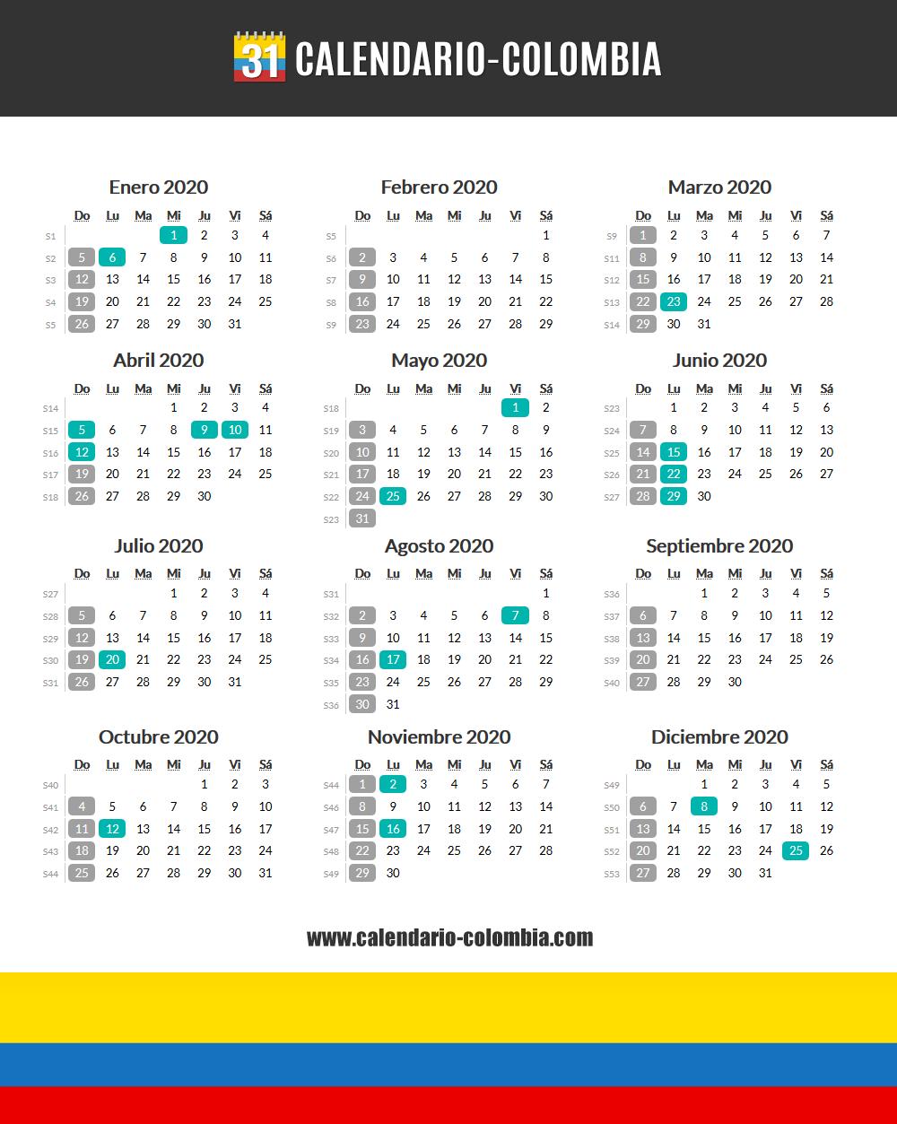 Calendario 2020 Colombia Calendario 2020 Colombia Calendario Tipos De Letras Abecedario Calendario Con Festivos