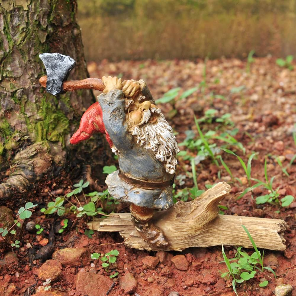 Garden Gnome Chopping Wood | Gnomes and Gardens