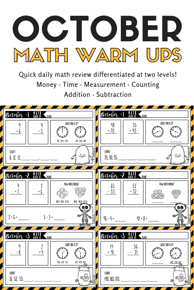 These Are The Perfect Daily Math Warm Up Reviews They Re Quick And Cover Money Time Measurement Counting Addition And October Math Math Daily Math Review [ 1102 x 735 Pixel ]