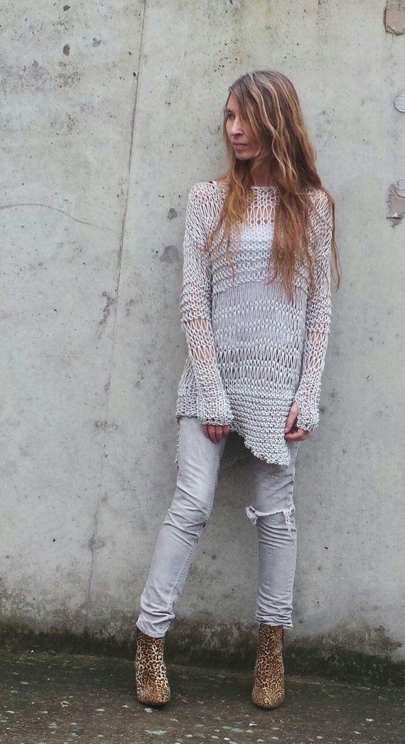 silver sweater silver grunge sweater loose knit Cotton by ileaiye ...