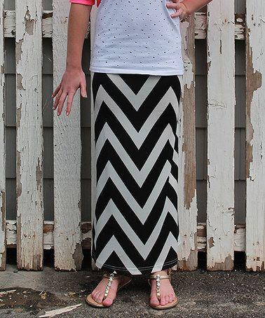 Black & White Chevron Shar Maxi Skirt - Girls #zulily #zulilyfinds