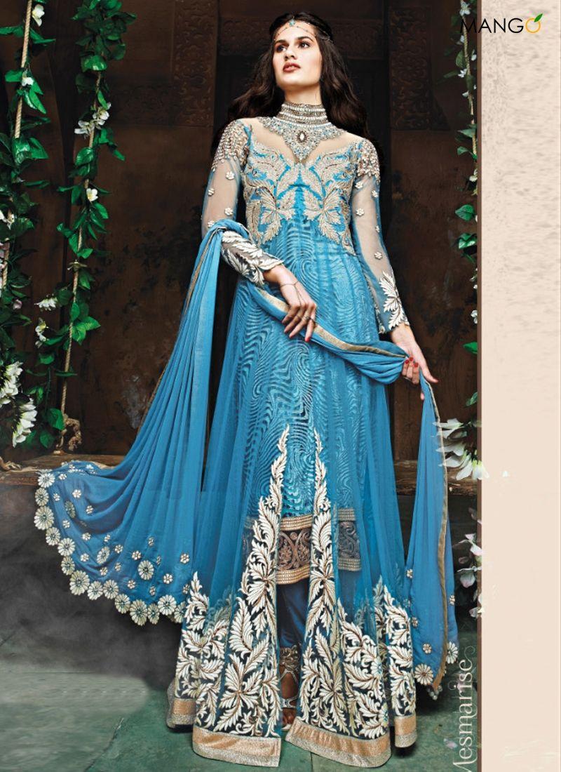 Hot Sky Blue Net Trendy Wedding Anarkali Suit | Indian attire ...
