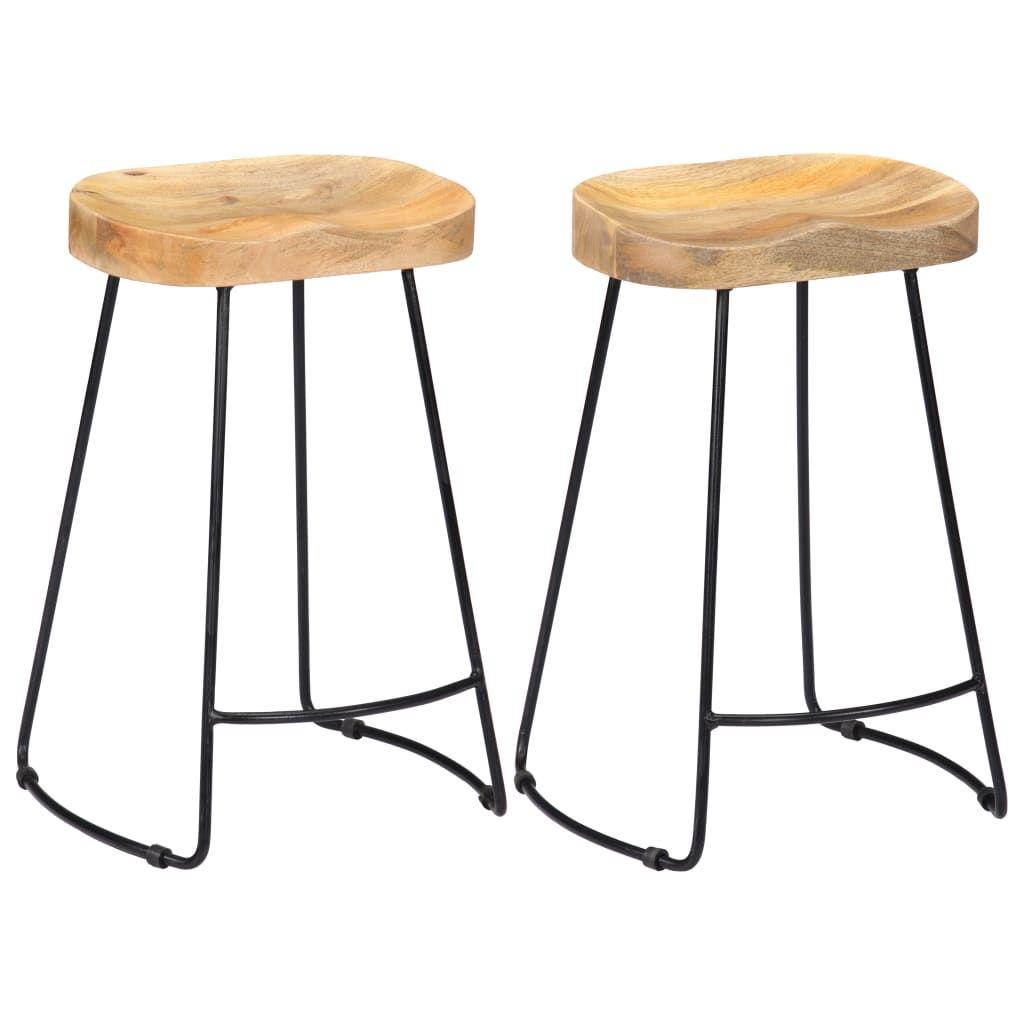 vidaXL 2x Solid Mango Wood Gavin Bar Stools Bistro Chairs Set Multi Sizes - 17.7 x 15.7 x 24.4