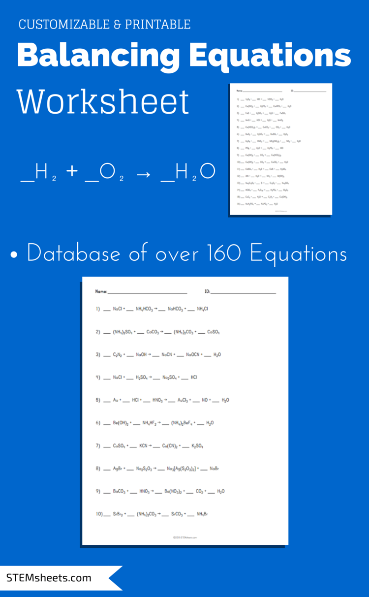 Worksheets 1000 Unbalanced Chemical Equation balancing chemical equations worksheet that you can customize and print