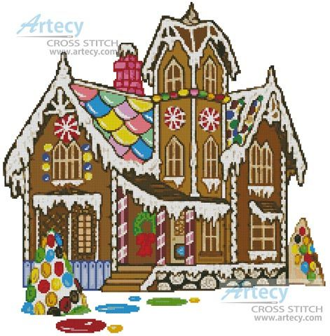 artecy cross stitch gingerbread house cross stitch pattern to print